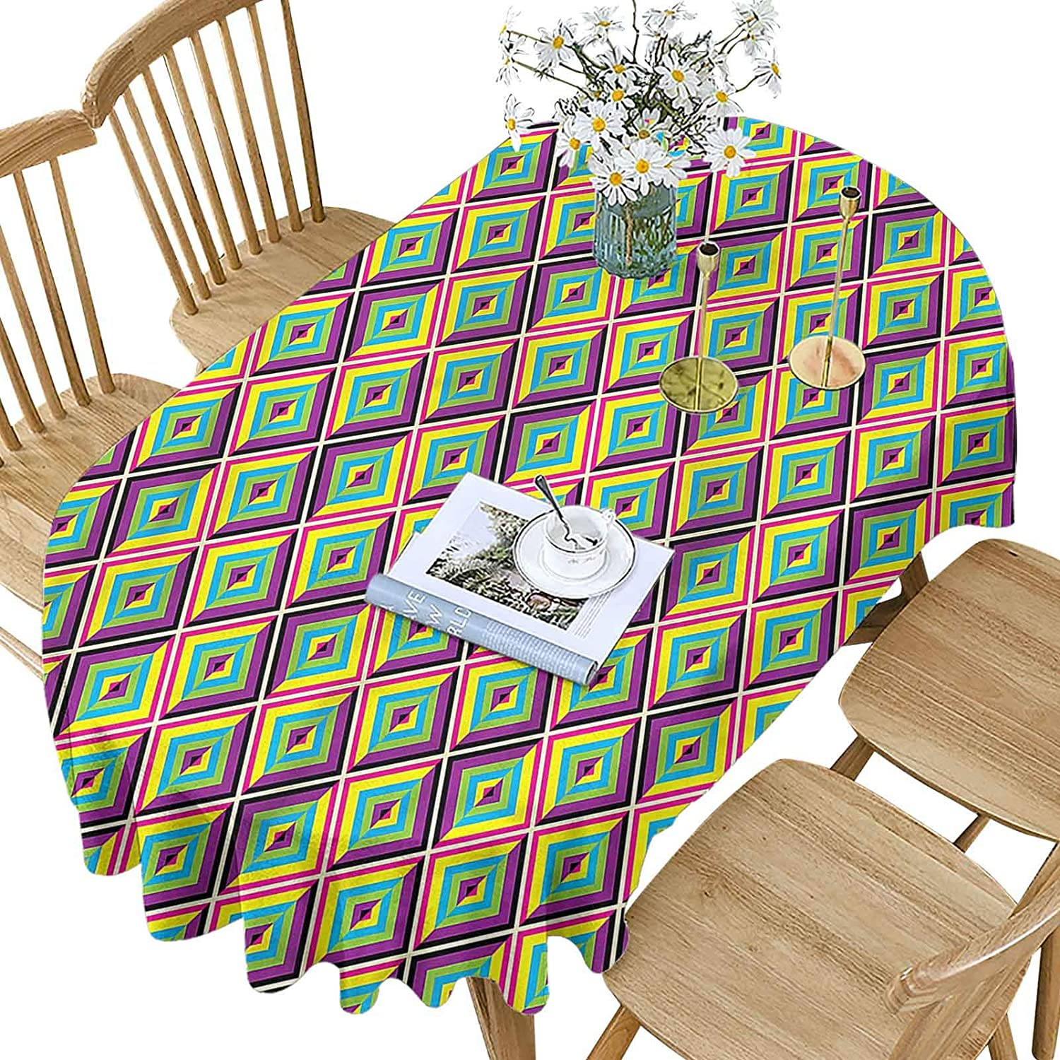 Hiiiman Colorful Manufacturer direct delivery Polyester Oval P In stock Tablecloth Rhombus Composition