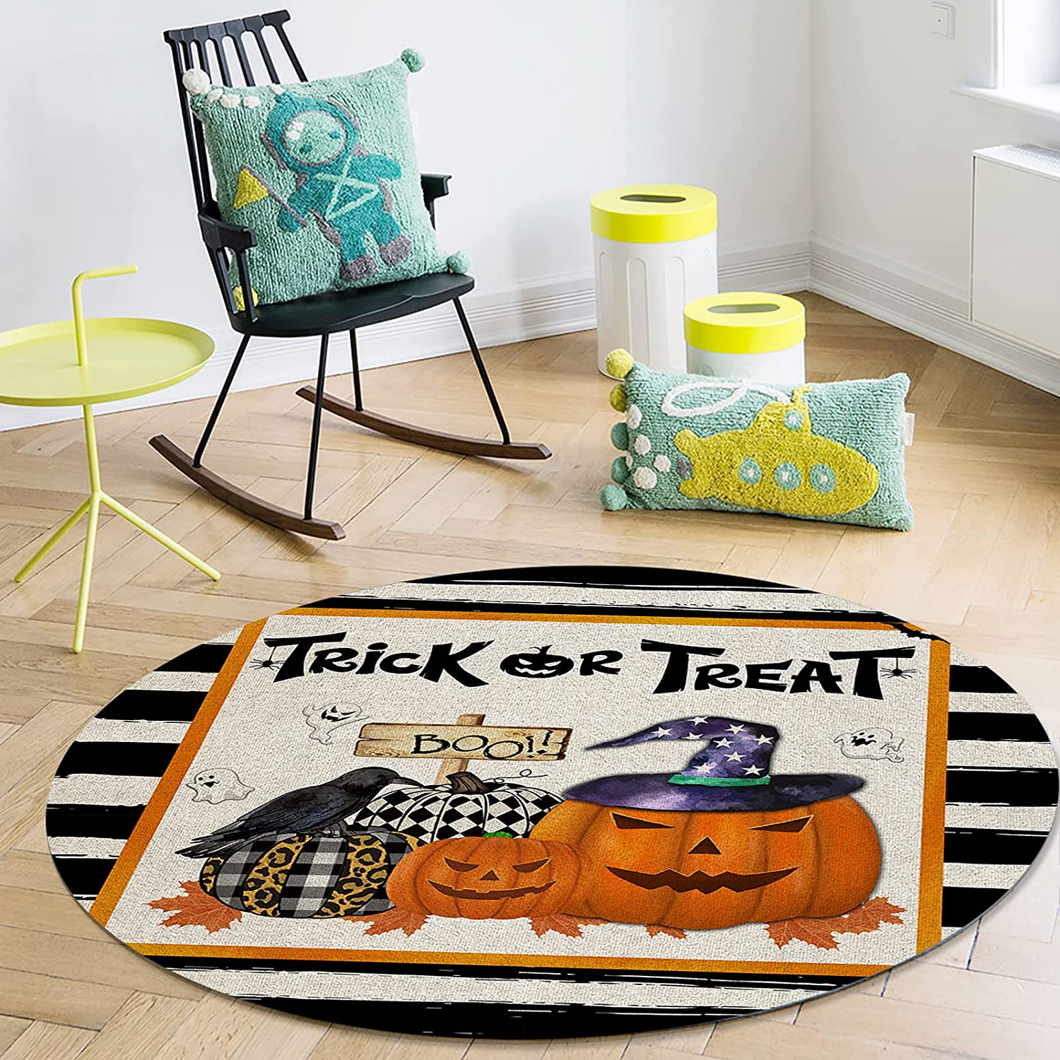 OneHoney Halloween Pumpkin Crow Soldering Ghost Indo Round Area Long-awaited Rugs 72In