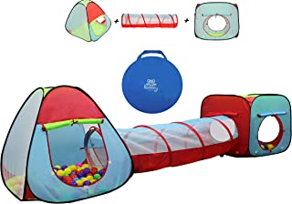 Kiddey Children's Dual Play Tent with Tunnel (3-Piece Set) – Indoor/Outdoor Playhouse for Boys and Girls – Lightweight, Easy to Setup (3 Pc. Tent)