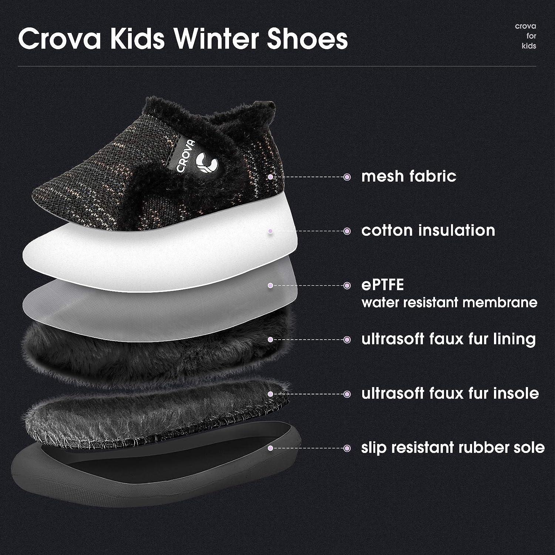 Crova Boys Girls Warm Winter Flat Shoes Ultra Light Slip Resistant Fur Lined Indoor House Slippers Toddler//Little Kid