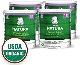 Gerber Natura Organic Infant Formula with Iron, Prebiotics, DHA, Vitamins A&E, 23.2 ounce (Pack of 4)