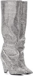 Silver Rhinestone Embellished Crystals Heel Slouchy Scrunch Boot