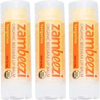 Beeswax Lip Balm by ZAMBEEZI - Tangerine 3 pack - Crafted with USDA Certified Organic, Fair Trade, lip refreshing ingredients from Zambia, Africa