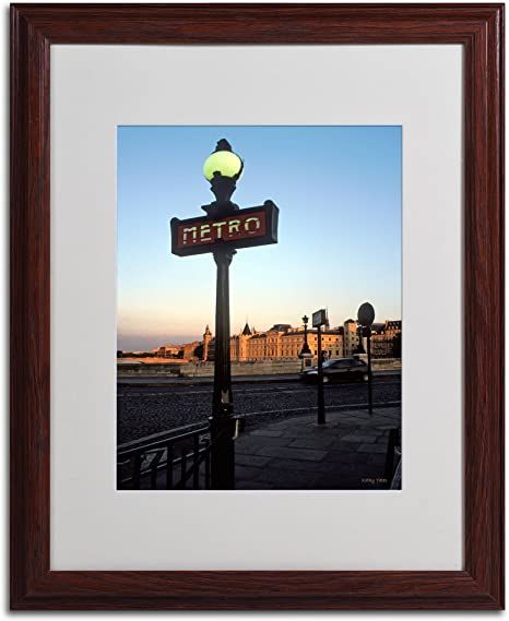 Amazon Com Le Metro At Dusk By Kathy Yates Matted Framed Art With Wood Frame 16 By 20 Inch Artwork Wall Art