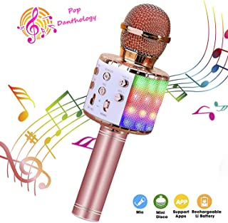 ShinePick Wireless 4 in 1 Bluetooth Karaoke Microphone, Handheld Portable Karaoke Machine, Home KTV Player with Record Function, Compatible with Android & iOS Devices(Pink)