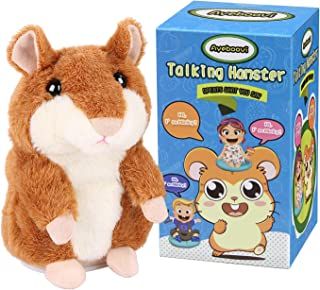 Ayeboovi Toys for 2 Year Old Talking Hamster Repeats What You Say Educational Talking Toy Repeating Hamster Toy Gift for Kids 1 2 3 4 5 Year Old … (Brown)