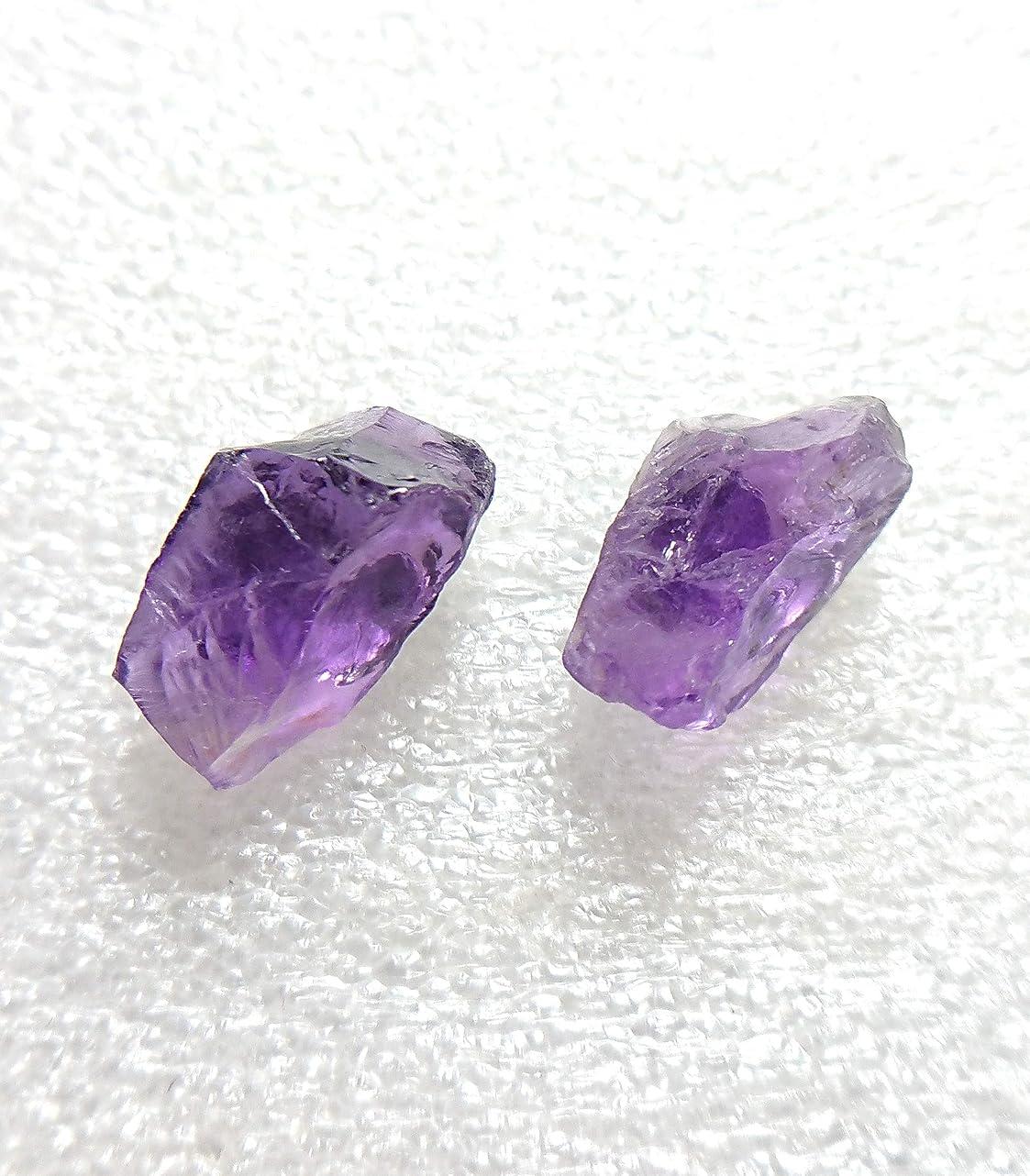それにもかかわらず議論する素晴らしい良い多くのH1767(SHOUT RUE) 天然石 アメジスト 紫水晶 ラフロック 原石 クォーツ チタン スタッド ピアス 両耳 (2個) 金属アレルギー対応