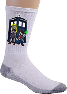 Character Group w/Public Call Box Doctor Science Fiction TV Parody - Crew Socks