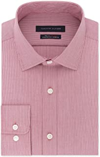 TOMMY HILFIGER Men's Athletic Fit Performance Stretch TH Flex Collar Fineline Stripe Dress Shirt (Puple, 14.5X32-33) Purple