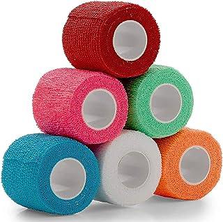 Vet Wrap - (Pack of 6-2 inch x 5 Yard Rolls) Self Adherent Wrap Cohesive Compression Bandage and Medical Gauze Bandage Rol...
