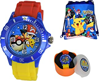 Unisex Silicone Quartz Analog Wrist Watch for Children & Drawstring Gym/School/Shoes Bag