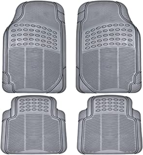 BDK All Weather Rubber Floor Mats for Car SUV & Truck - 4 Pieces Set (Front & Rear), Trimmable, Heavy Duty Protection (Grey)
