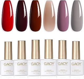 GAOYRed Gray Series GelNailPolishSet of6Colors IncludingBurgundy Nude Purple Gel Polish Kit UVLEDSoakOff Shellac...