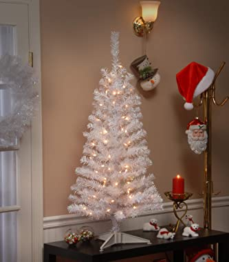 National Tree Company Pre-Lit Artificial Christmas Tree, White Tinsel, White Lights, Includes Stand, 4 feet