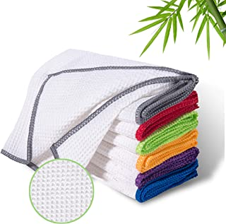 LUCKISS 100% Bamboo Dish Cloths Cleaning Cloth and Dust Cloths Sets Super Absorbent Towels Soft Durable and Eco-Friendly Cleaning Rags 12 x 12 inch 6 Pack