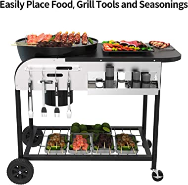 YITAHOME 22-inch Charcoal Grill Portable BBQ Grill with Side Shelf for Backyard Patio, Picnics, Traveling, Camping, Hiking –