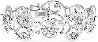 Diamond Circle Filigree Bracelet For Women in .925 Sterling Silver