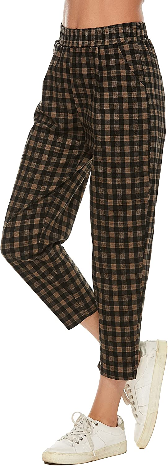 LNX Womens Plaid Crop Pants High Waisted Skinny Work Tapered Pants