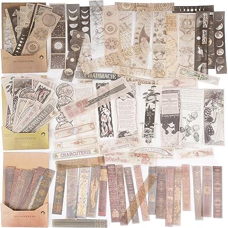 120Feuilles Autocollants Papiers Journal Bullet Scrapbooking Stickers Adhésif Etiquettes Vintage Décoratifs Artisanat Scrapbook Agenda Calendrier DIY Cahiers