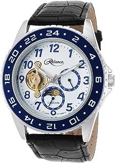 Re306081ssbl Men's Reliance Auto Black Gen Leather White Dial Blue Bezel Base Metal Watch