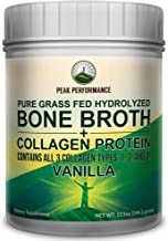 Vanilla Hydrolyzed Bone Broth Collagen Protein Peptides Powder by Peak Performance. Contains All 3 Collagen Types 1, 2, and 3. Pure Pasture, Raised Grass Fed, Paleo Friendly, Gluten Free