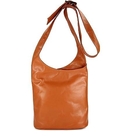 Belli Cross Bag Classic italienische Umhängetasche Damen Ledertasche Handtasche Cross Over Bag in cognac - 24x28x8 cm (B x H x T)