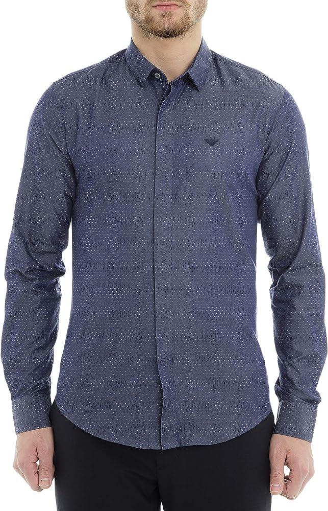 Emporio armani slim fit micro pois blue, camicia per uomo, 100% cotone 9702AA
