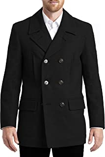 Chaps Men's Long All-American Authentic Style Peacoat, Black, 50L
