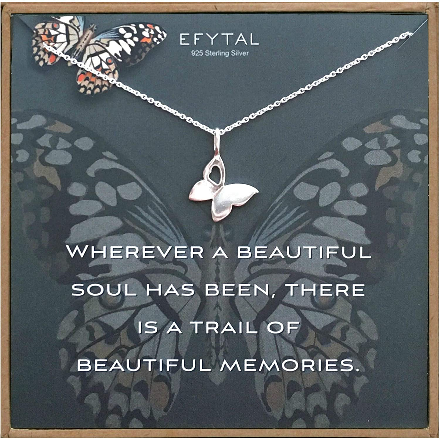 EFYTAL Condolence Gifts 925 Necklace Sterling Butterfly Silver Very popular! Max 58% OFF