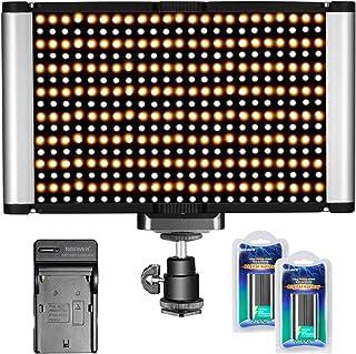 Neewer Panel de luz de cámara LED Video 280 LED CRI 95 + Bi-color regulable con zapato frío 3200K - 5600K ajustable y 7.4V 2600mAh baterías cargador para Canon Nikon cámaras réflex digitales cámaras