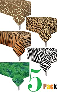 oojami 5 Pack Animal Safari Theme Zoo Print Table Cover/Animal Theme Tablecloth Party Supplies/Ideal for Birthday Parties, Animal Theme Party, Baby Showers, Zoo Jungle Safari Themed Party