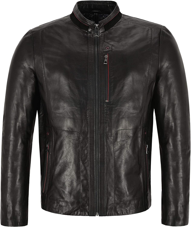 Mens Racer Leather Jacket Black Casual Fashion Italian Lambskin Biker Style 1916
