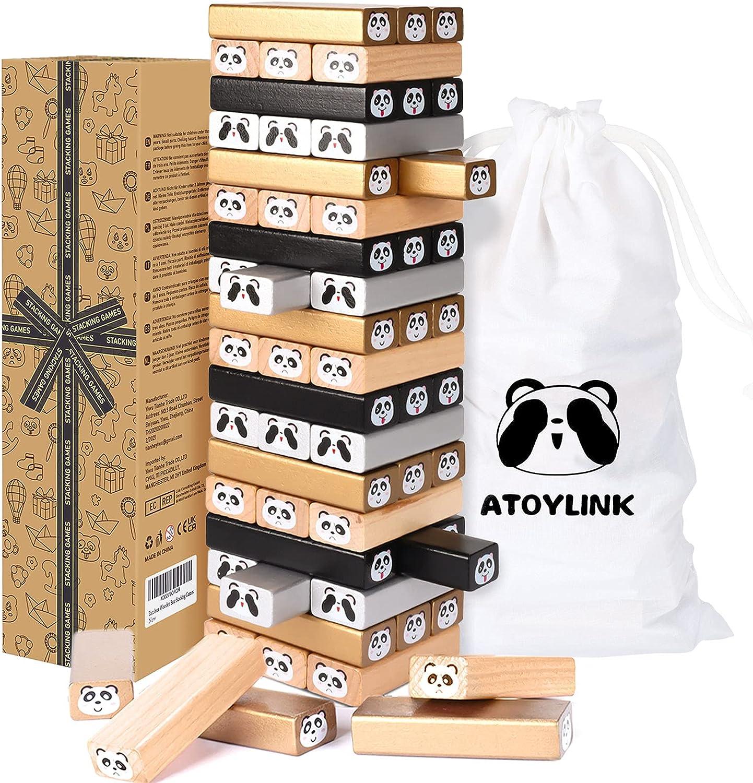 Toyssa Torre de Bloques Infantil de Madera con 54PCS Bloques Panda Juego de Mesa Juego de Educativo para Niños Niñas 3 4 5 6 7 8 años Juguete Aprendizaje Montessori Juguete de Madera Juego Familiar