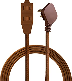 Cordinate Designer 3-Outlet Extension Cord, 2 Prong Power Strip, Extra Long 8 Ft Cable with Flat Plug, Braided Chevron Fabric Cord, Slide-To-Lock Safety Outlets, Solid Brown, 39982