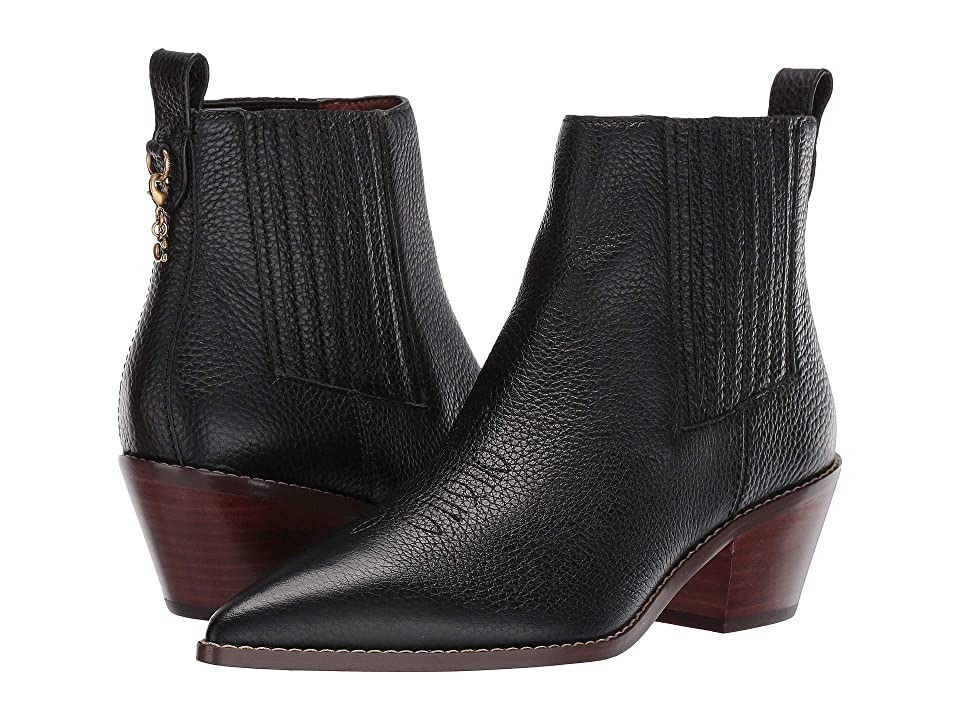 COACH Melody Western Stitch Bootie (Black Leather) Women