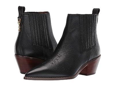 COACH Melody Western Stitch Bootie (Black Leather) Women