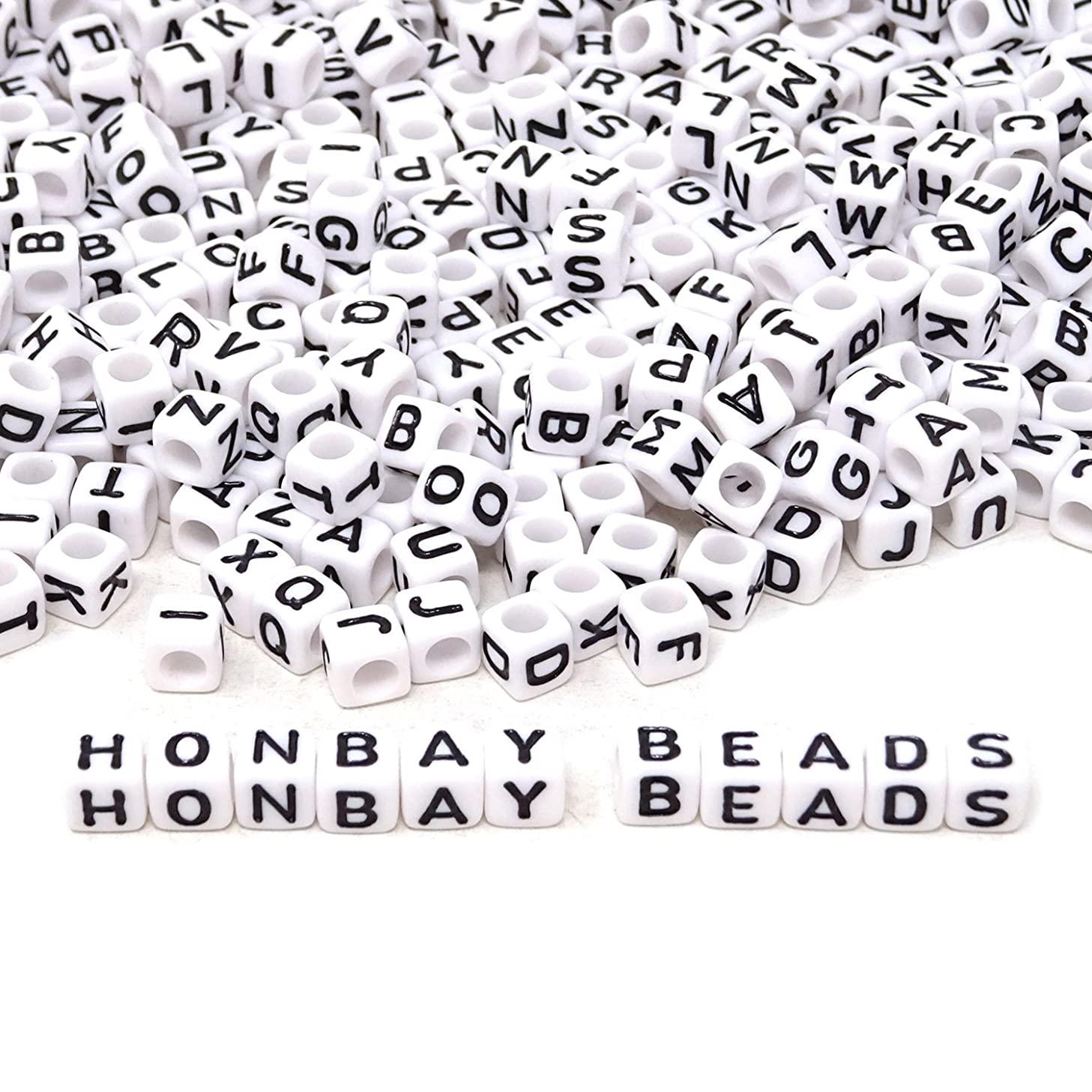 Honbay 600PCS 6mm White Acrylic Alphabet Beads Letter Beads for Jewelry Making, Bracelets, Necklaces, Key Chains and Kids Jewelry