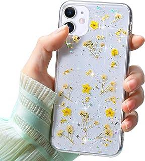 Funda Compatible con iPhone 11 6.1,Carcasa Suave Transparente Proteccion Silicona TPU Flor Real Flores Secas Bling Brillo ...