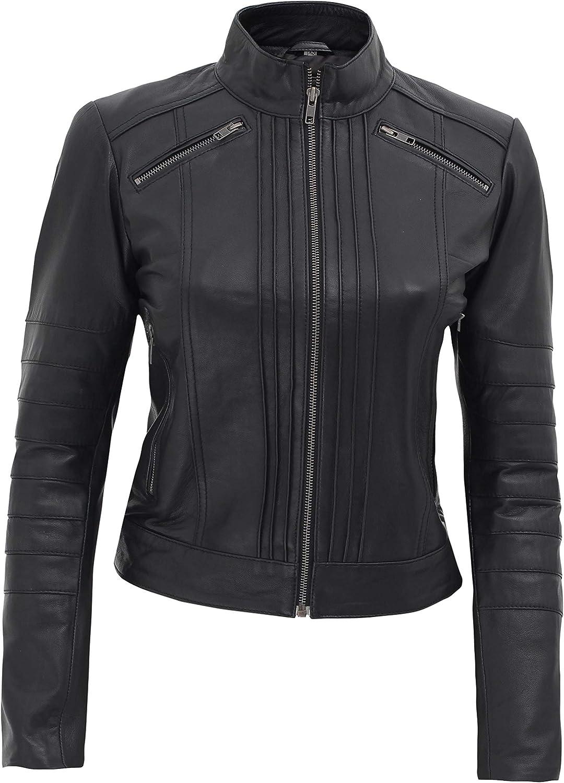 Black Ranking TOP3 Leather Jacket Women - Motorcycle Womens Style Lambskin Tulsa Mall Le