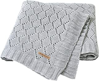 mimixiong Toddler Blankets Knitted Cellular Baby Blankets for Boys and Girls Grey 40x30 Inch