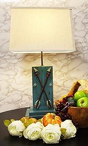 Ebros Southwestern Rustic Vintage Blue Distressed Wood 2 Crossed Arrows of Friendship Desktop Side Table Lamp 26