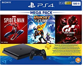 Sony Playstation 4 500GB Slim Console Hits Bundle with Spiderman, Ratchet & Clank, Gran Turismo Sport and 3 Months PS Plus...