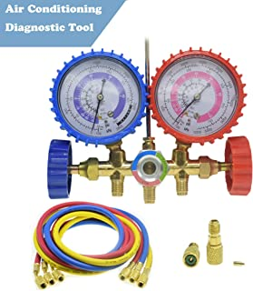 LEIMO AC Diagnostic Manifold Freon Gauge Set Air Conditioning Tool for R410A R22 R404 Refrigerant Charging,1/4