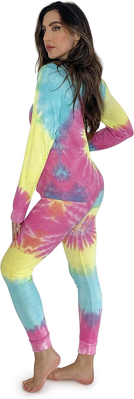 Just Love Womens Tie Dye Two Piece Thermal Pajama Set
