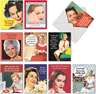 10 Boxed 'Ageless Wisdom' Funny Birthday Cards with Envelopes 4 x 5.12 inch - Bday Note Cards Featuring Hilarious Quotes A...