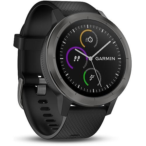 Garmin - Vivoactive 3 - Montre Connectée de Sport avec GPS et Cardio Poignet (Ecran : 1,6 pouces) - Gris avec Bracelet Noir