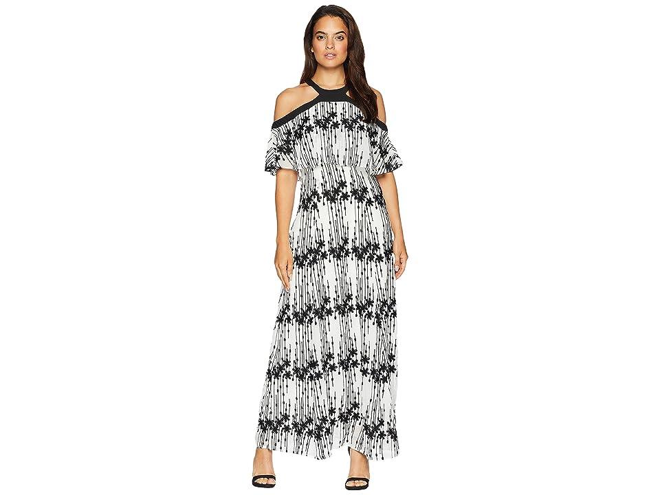 Taylor Embroidered Chiffon Long Dress (Black/Ivory) Women