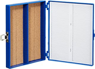 "Heathrow Scientific HD15994A Blue Cork Lined 100 Place Microscope Slide Box, 8.25"" Length x 7"" Width x 1.3"" Height"