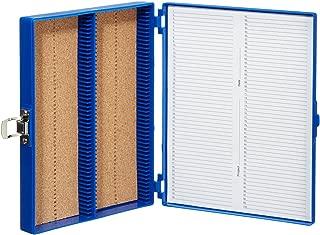 "Heathrow Scientific HD15994A Blue Cork Lined 100 Place Microscope Slide Box, 8.25"" Length x 7"" Width x 1.3"" Height"