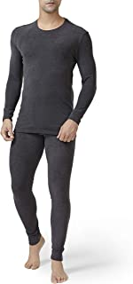 DAVID ARCHY Men's Winter Warm Stretchy Fleece Lined Base Layer Thermal Set Long John with Fly